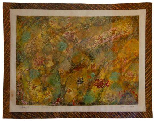 """Glyphs, 24"""" x 20"""" framed"""
